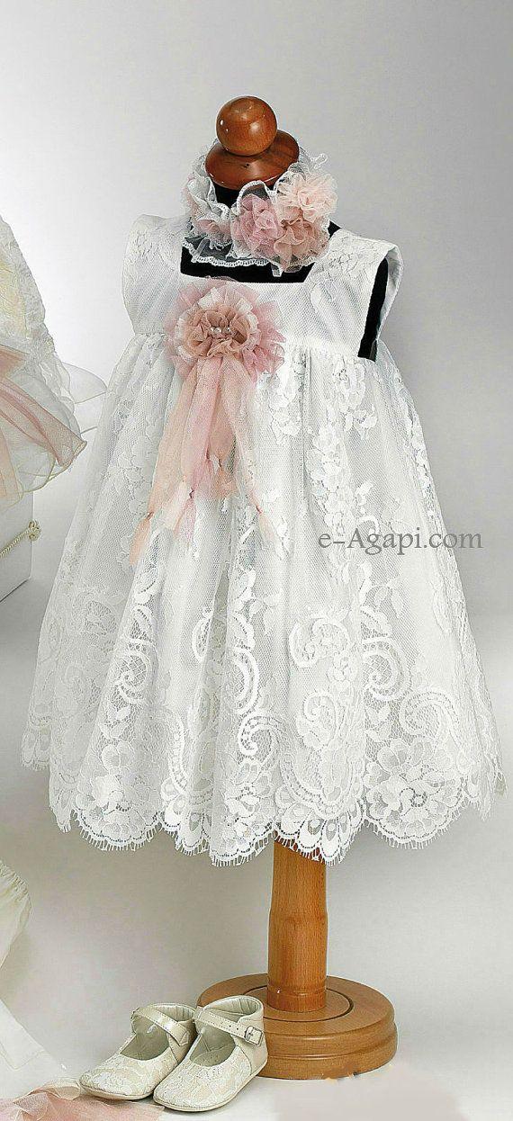 4 pcs greek Baptism Christening Baby girl Vintage style set  : Lace Dress , Headband , Shoes on Etsy, $175.79