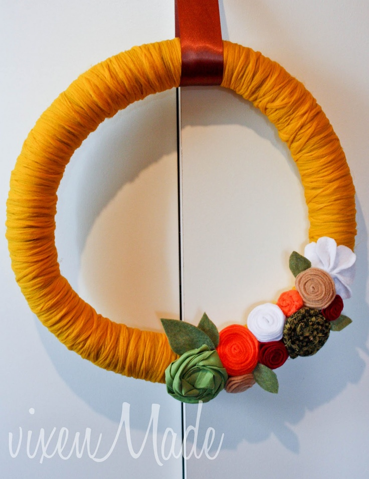 foam wreathCrafts Ideas, Creative Ideas, Crafty, Yarnwrap Wreaths, Events Ideas, Foam Wreaths, Felt Wreaths, Yarns Wraps Wreaths