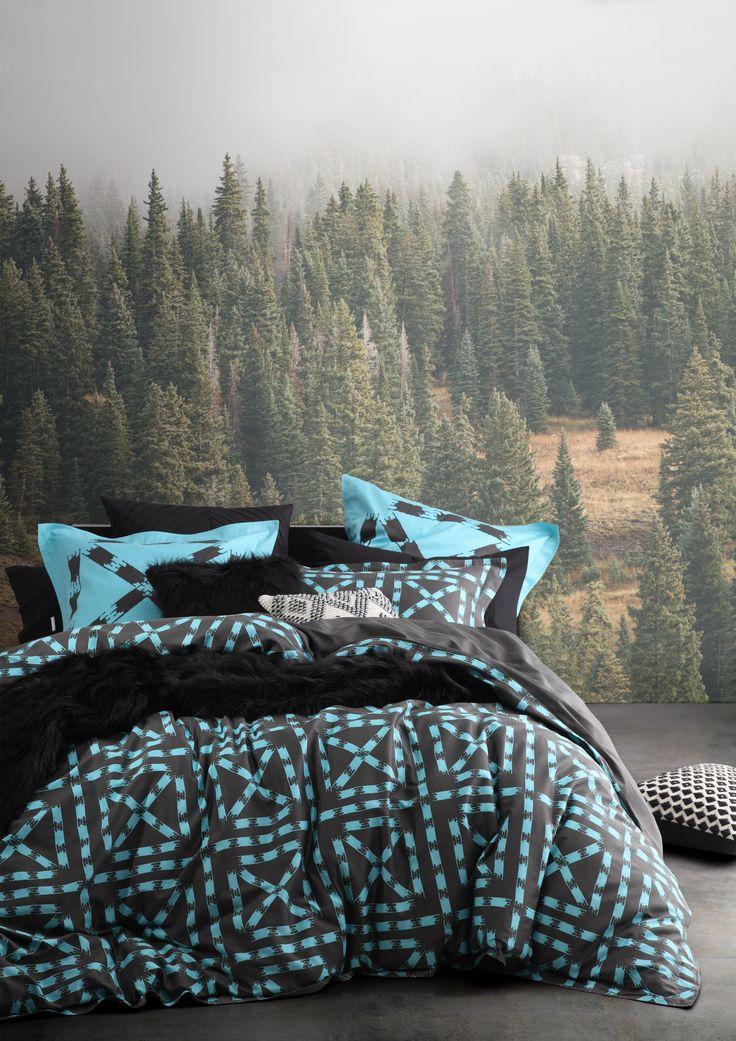 LTD. by Logan & Mason - Equinox Mint Quilt Cover Set #bedroom #bed #décor #style #geometric #black #mint #blue #ltd #limited