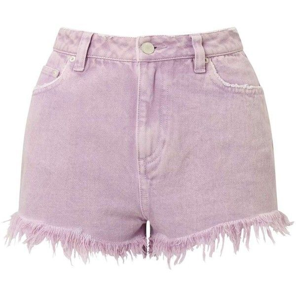 Miss Selfridge Lilac Acid Wash Shorts ($60) ❤ liked on Polyvore featuring shorts, lilac, cotton shorts, miss selfridge and acid wash shorts
