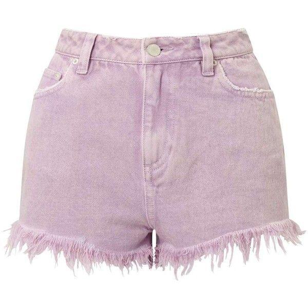 Miss Selfridge Lilac Acid Wash Shorts ($60) ❤ liked on Polyvore featuring shorts, lilac, cotton shorts, miss selfridge and acid wash shorts