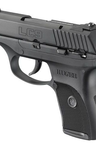 Ruger's 9mm LC9 sub-compact pistol features a glass-filled nylon frame with an alloy insert and a blue-steel slide.