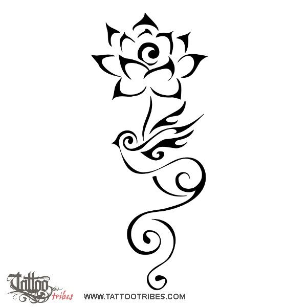 Tatuaggio di Loto e rondine, Ritorno a casa tattoo - custom tattoo designs on TattooTribes.com