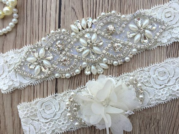 Ivory Garter  Personalised Wedding Garter Belt  by ThePerleBridal