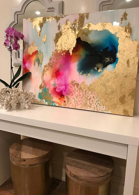 Sold! Large Art, Large Canvas Painting, Pink, Green, Blue, Gold, Large Original Glitter Resin Coat 30″ x 40″ real gold leaf Large Abstract