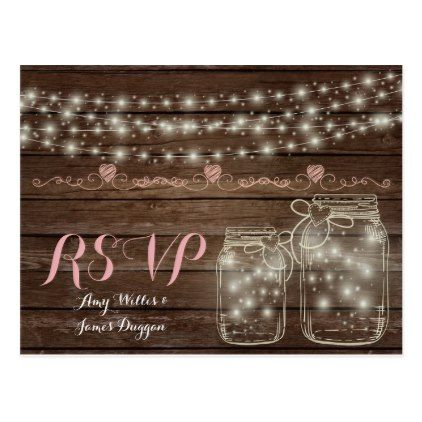 Cheap Wedding RSVP Rustic Mason Jars Lights Barn Postcard - rsvp gifts card cards diy unique special