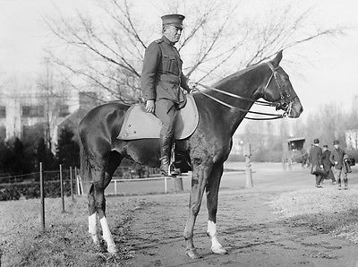 1920 photo of U.S. Marine General John Lejeune on horseback. WWI US Marines Corps Hero; Camp Lejeune is named in his honor.l
