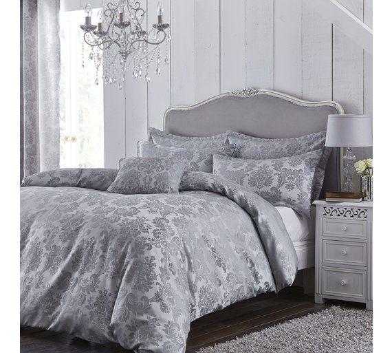 buy catherine lansfield damask silver bedding set double at argoscouk