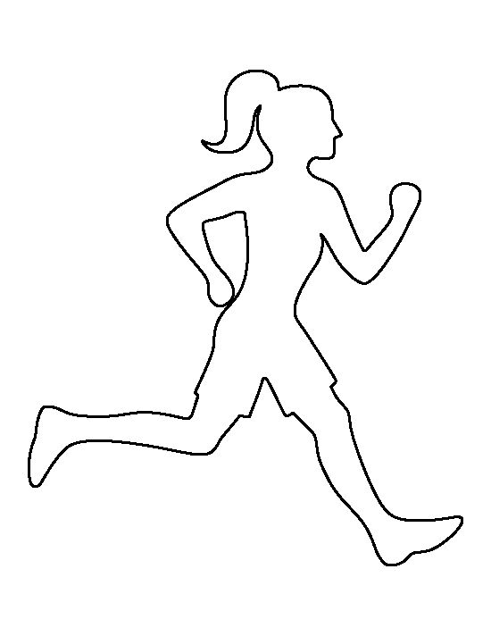 Running girl pattern. Use the printable outline for crafts, creating stencils, scrapbooking, and more. Free PDF template to download and print at http://patternuniverse.com/download/running-girl-pattern/