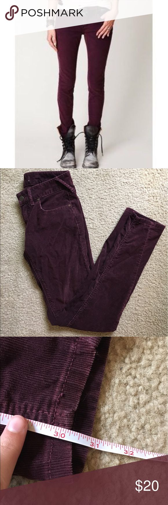 Free People Purple Skinny Pants No size tag, it was removed a while ago. These fit a size 0 and have some stretch to them. The waist is 14 inches across and the inseam is approximately 30 inches long. Cotton blend material. Purple/maroon color. Corduroy texture. By Free People. No flaws other than the missing tag.  I ship daily - excluding Sundays and holidays - and I store items in a smoke free, pet free environment. Open to offers; bundles discounted! Free People Pants Skinny