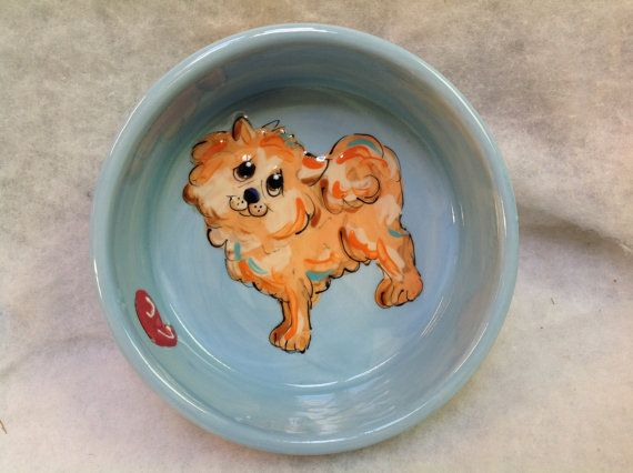 Hand Painted Ceramic Pom Dog Bowls signed by Debby Carman Faux Paw Productions