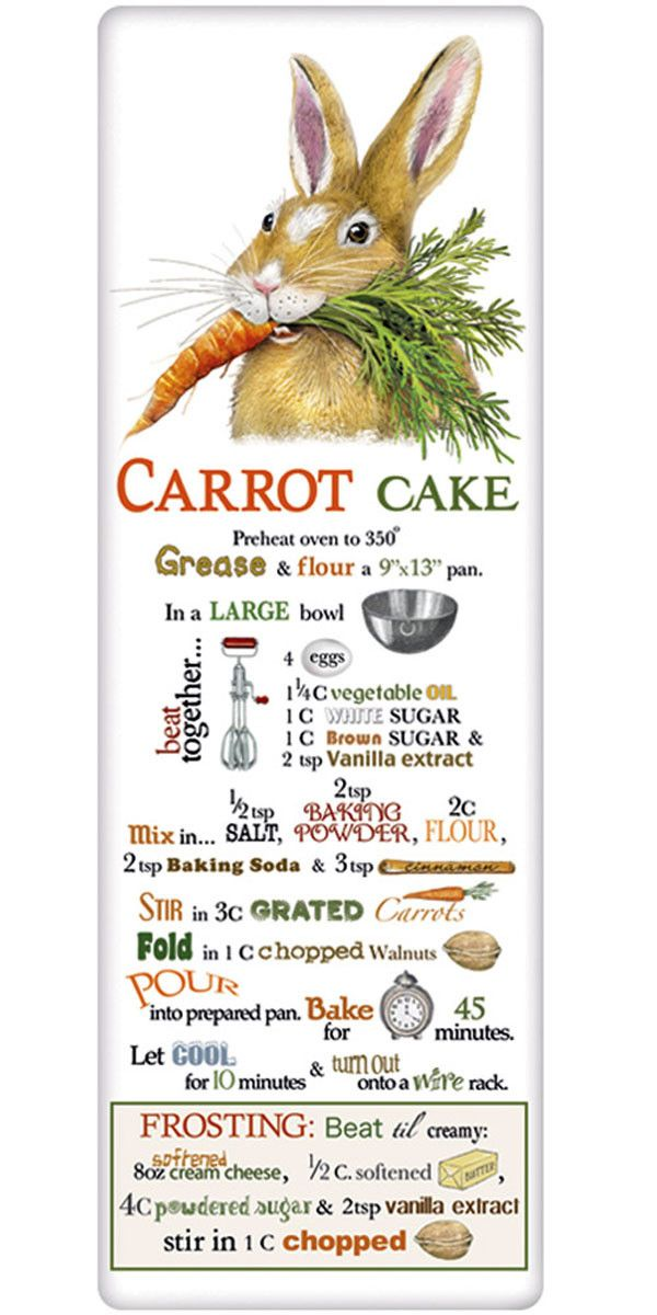 We treasure the recipe dish towel! Discover flour sack towels for every cook's decor and holidays. This one features an amazing recipe for perfect carrot cake.