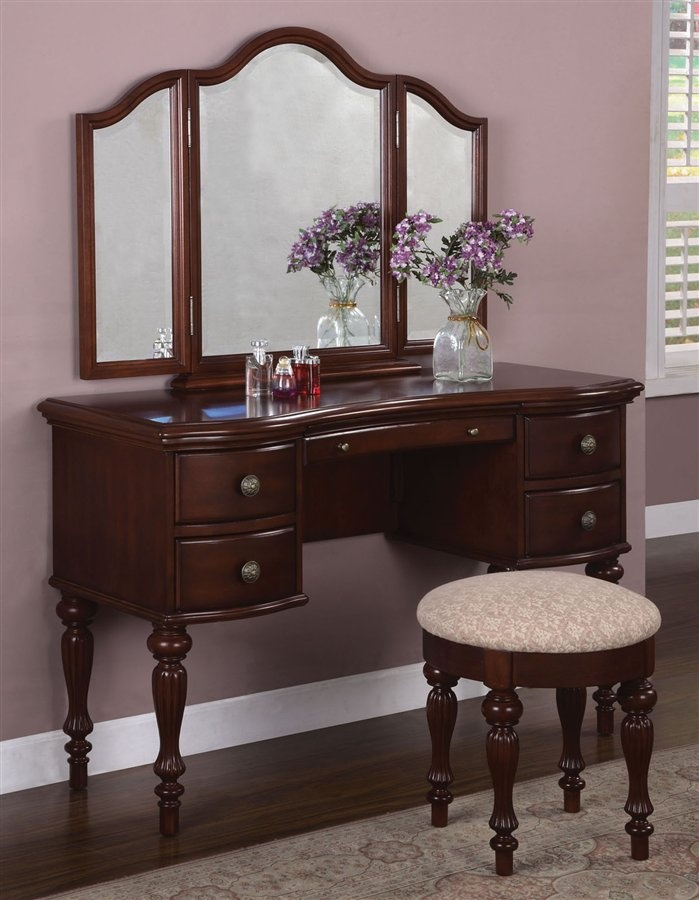 Vanity Table Set In Marquis Cherry Finish Vanity Dressing Tables