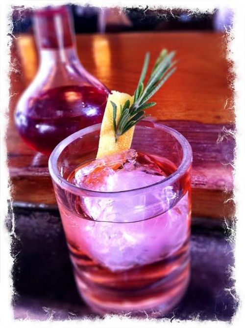 A Rosemary, Vodka, and Lemon drink from Liberty in Seattle.