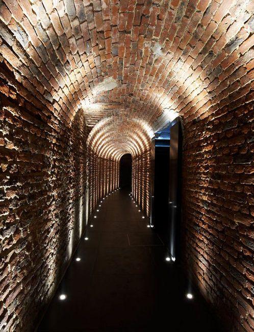 Brick Hallway (hallway,architecture,dimlit)