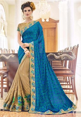 Blue,Biege Self Jacquard,Satin Smoked Georgette Designer Saree #latest #newlyadded #dress #Saree #sale #nikvik #usa #designer #australia #canada #sari