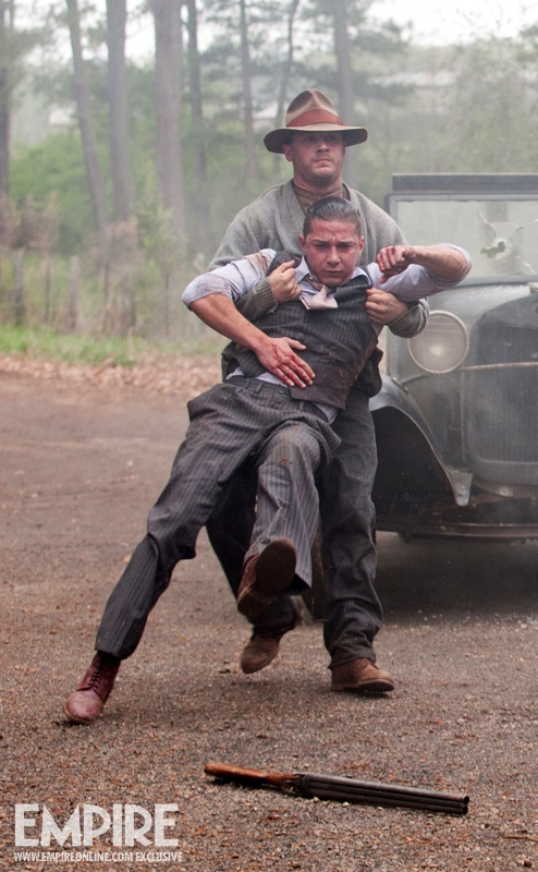 New still from Lawless! Haha if I didn't know what was happening here I would assume TH is using Shia as a human shield...and THAT is funny XD