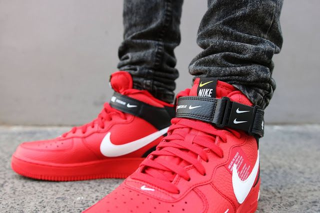 First Look Nike Air Force 1 Mid 07 Lv8 Utility Red Nike Air Force Sneakers Nike