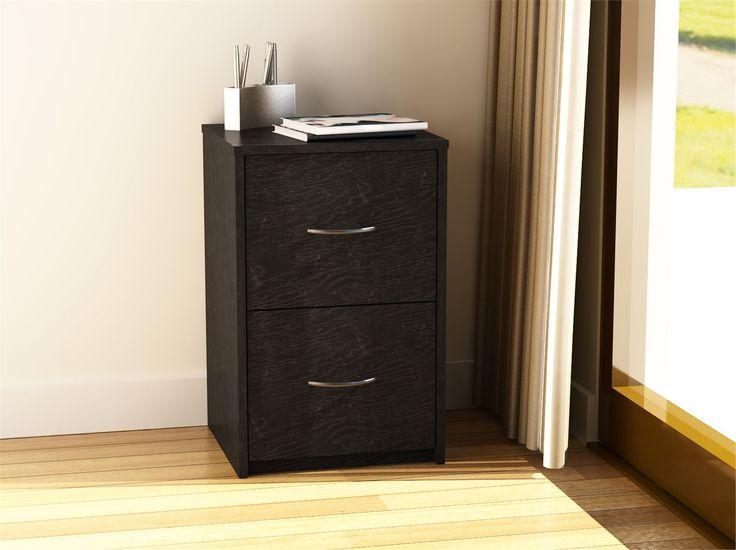 Superior 2 Drawer File Cabinet Filing Office Storage Furniture Black Wood Home