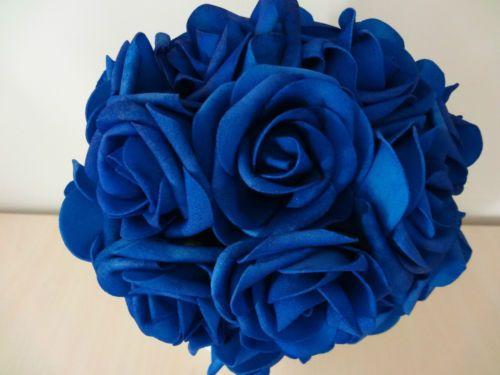 100X Royal Blue Roses Artificial Flowers Bridal Wedding Bouquets Wholesale Lots