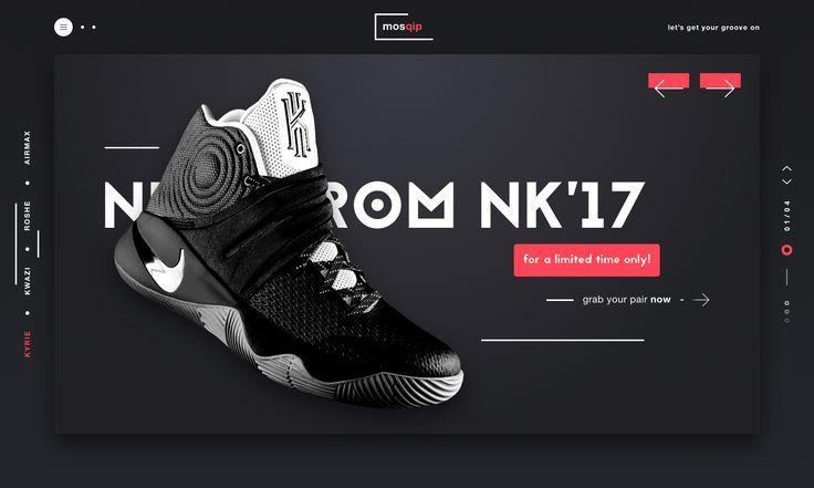 Mosquip sneaker website landing page design ui ux dribbble full