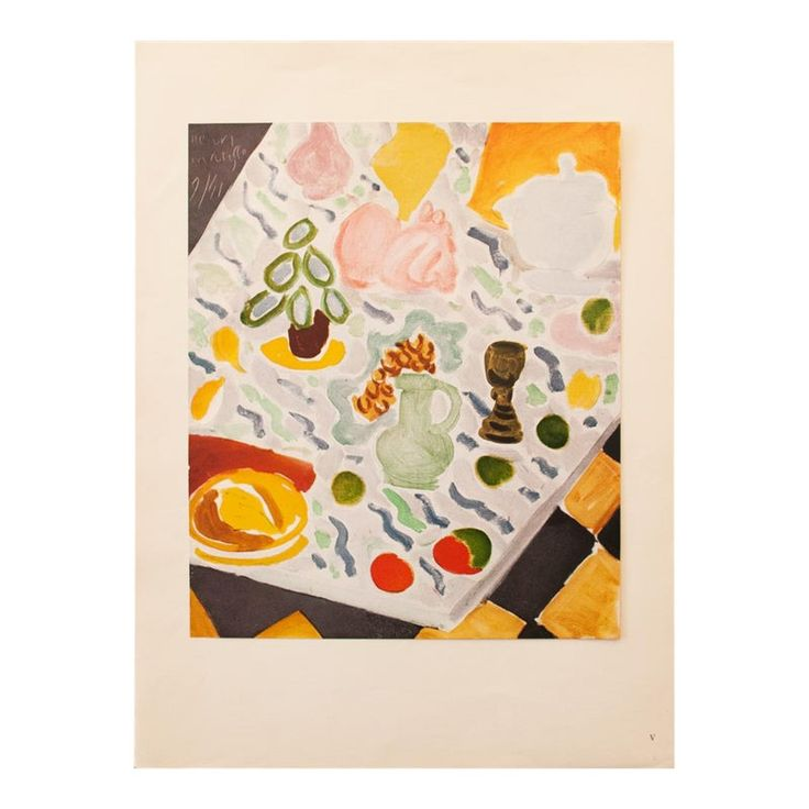 "1946 Henri Matisse, Original Period ""Still Life on Marble Table"" Lithograph"