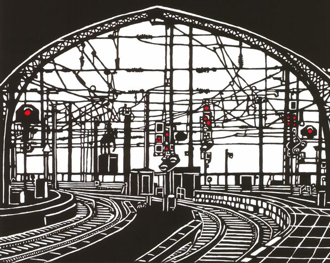 """Station"" linocut by Paula Pohli. http://www.paulapohli-art.com/. Tags: Linocut, Cut, Print, Linoleum, Lino, Carving, Block, Woodcut, Helen Elstone, Station, Trains, tracks, Railway, Industrial, Building."