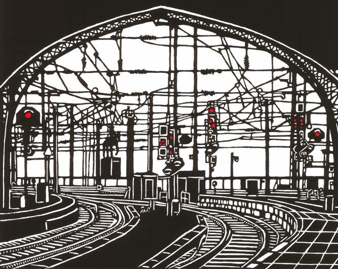 """Station"" linocut by Paula Pohli. http://www.paulapohli-art.com/. Tags: Linocut, Cut, Print, Linoleum, Lino, Carving, Block, Woodcut, Helen Elstone, Station, Trains, tracks, Railway, Industrial, Building."