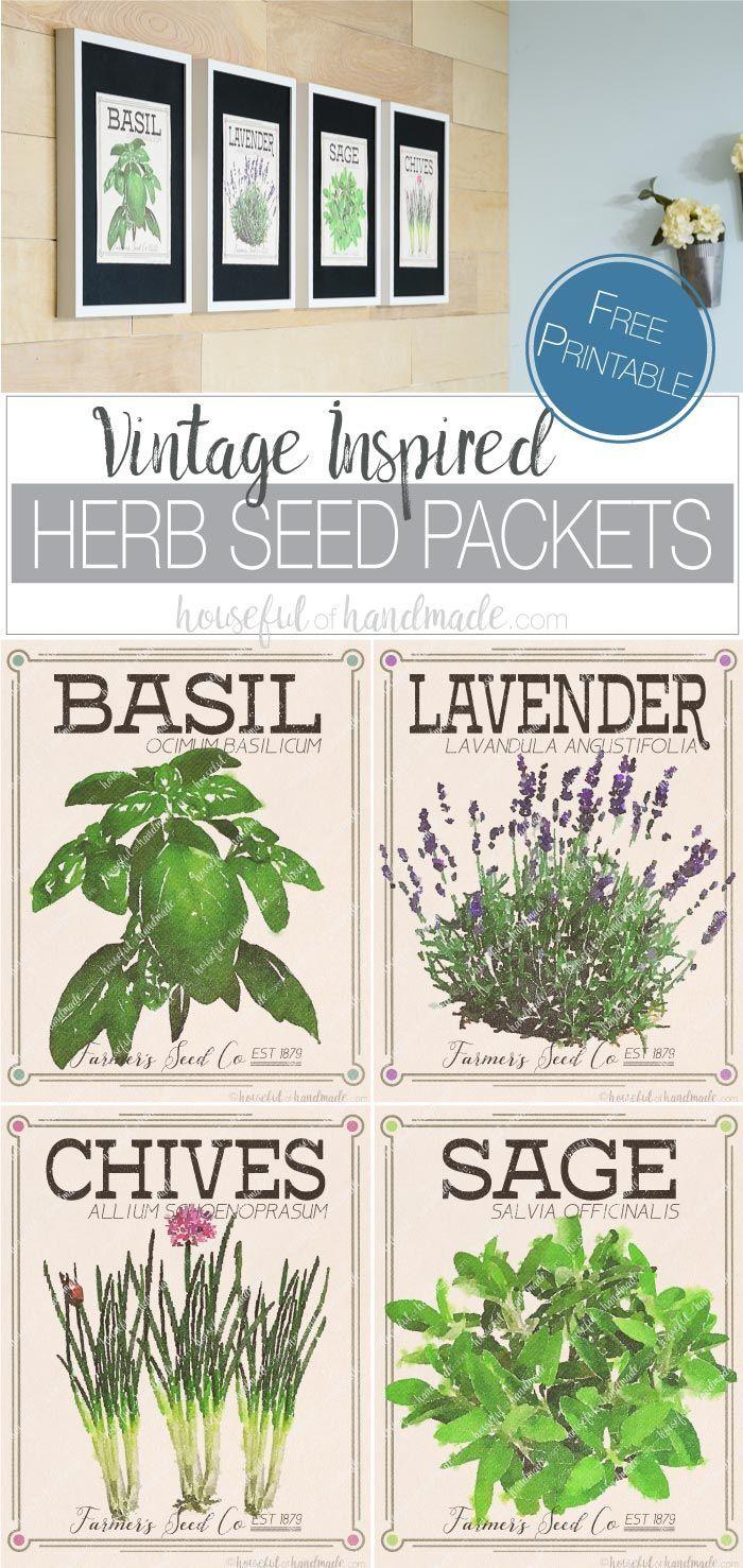 Vintage Inspired Herb Prints Vintage Seed Packets Seed