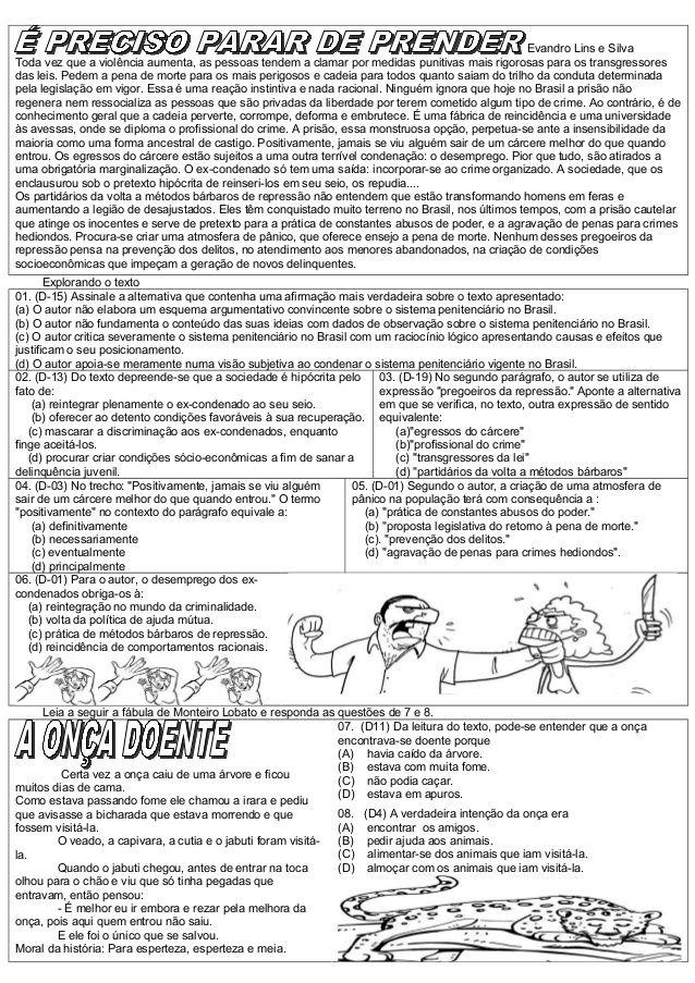 ATIVIDADES DIVERSAS CLÁUDIA: Provas de Língua Portuguesa com Descritores.