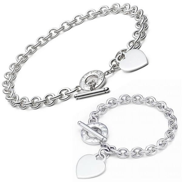 Tiffany Outlet Heart Tag Toggle Bracelet Necklace Set