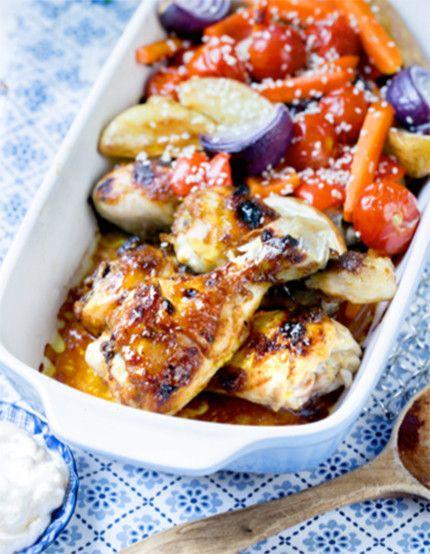 Marinerade kycklingben och ugnsrostade grönsaker | MåBra - Nyttiga recept