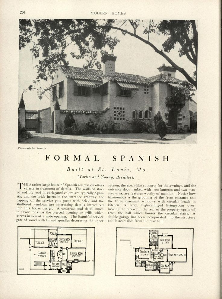 Modern homes their design and construction 1800 39 s 1940 Spanish revival home plans
