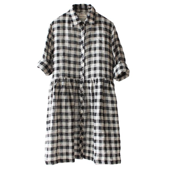 rennes Islington Dress Gingham Linen
