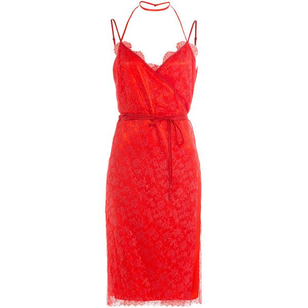 Nina Ricci Dress ($2,350) ❤ liked on Polyvore featuring dresses, cocktail dresses, red, vestidos, halter dress, v neck lace dress, v neck cocktail dress, sheer lace dresses and halter top