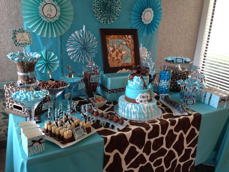 Safari Baby Shower Candy Table - you could choose a color like this and then do elephants and monkeys instead of the giraffes....bananas and peanuts too :)