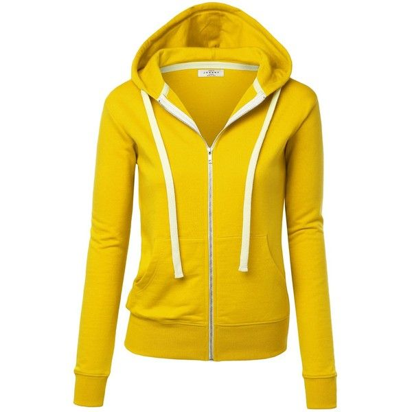 MBJ Womens Active Soft Zip Up Fleece Hoodie Sweater Jacket ($20) ❤ liked on Polyvore featuring tops, hoodies, hooded zip up sweatshirt, zip up top, yellow hooded sweatshirt, hooded fleece pullover and yellow hoodies