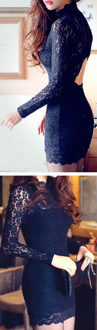 Black Lace Bodycon Dress // #lbd*