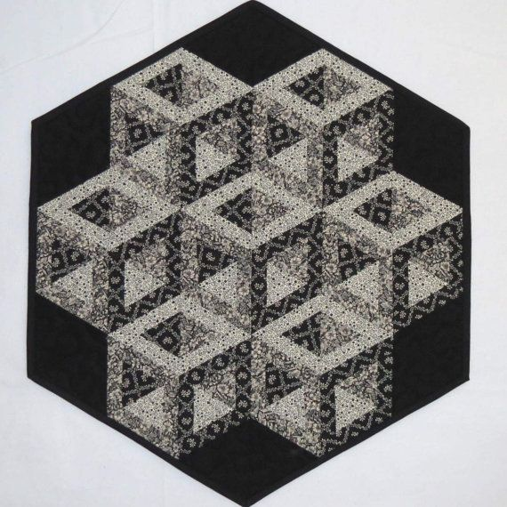 3-D Hollow Cube Table Mat Centerpiece Quilted Table by MiniMade