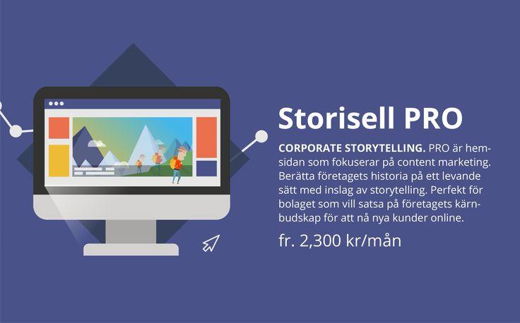 Storisell PRO | Hemsida med fokus på företagets innehållsmarknadsföring. Beställ företagets nya hemsida på www.storisell.se/pro eller läs mer här.