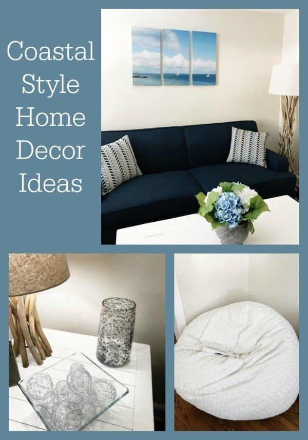 Coastal style home decorating ideas, including furniture and home accent recommendations for a living room.