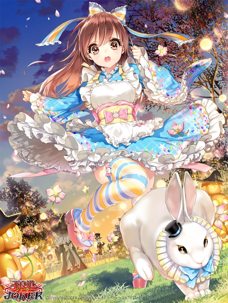 ✮ ANIME ART ✮ Alice in Wonderland. . .Alice. . .White Rabbit. . .kimono-inspired dress. . .wa-lolita. . .petticoat. . .apron. . .striped socks. . .pastel. . .ribbons. . .cute. . .kawaii