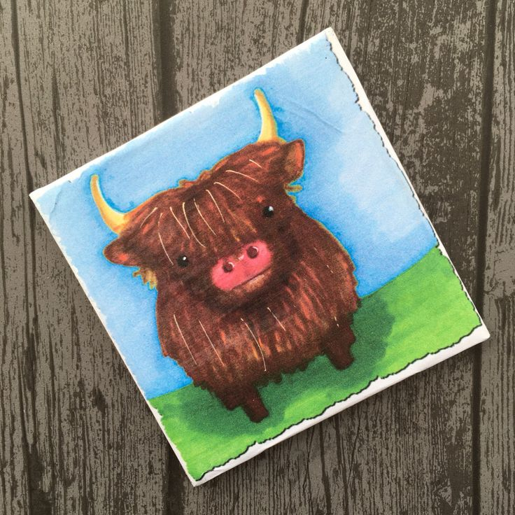 A personal favourite from my Etsy shop https://www.etsy.com/uk/listing/473439443/cute-highland-cow-coaster-colourful