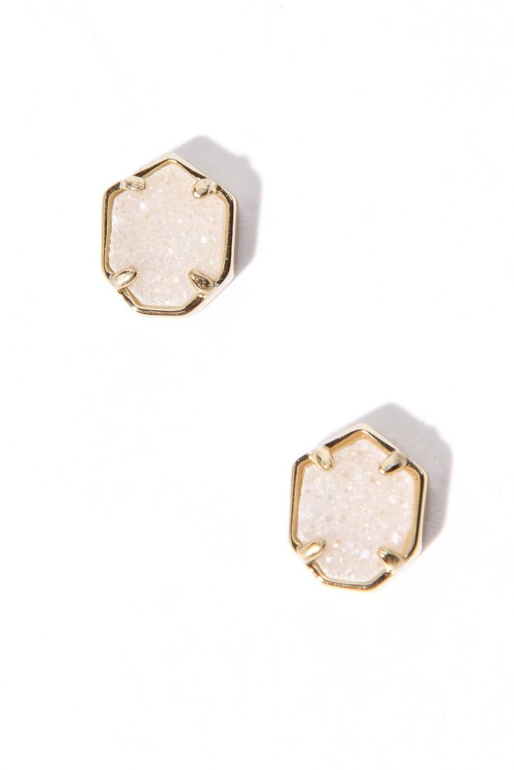 Kendra Scott Logan Gold Iridescent Drusy Stud Earrings | South Moon Under