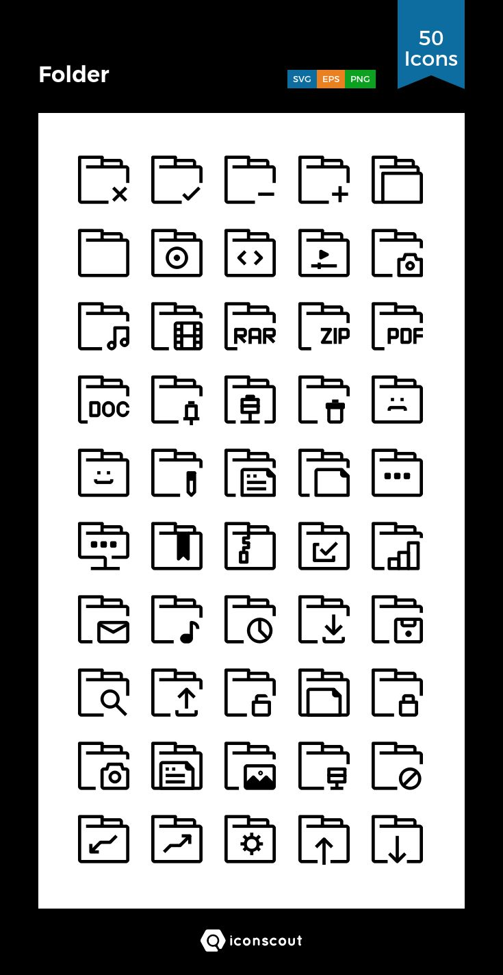 Folder   Icon Pack - 50 Line Icons