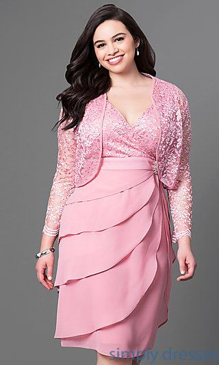 Short Rose Pink Plus Size Party Dresses At Simply Semi Formal Under 100 With V Neck Lace Bodices And Tiered Skirts
