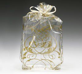 "Amazon.com: (100) Gold Jewel Swirl Design on Clear 11"" Cellophane Bags: Health & Personal Care"
