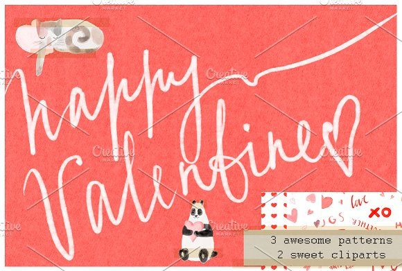 Happy Valentine set by Chayka shop on @creativemarket