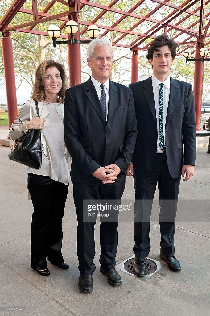 Caroline Kennedy, Edwin Schlossberg, and John Schlossberg attend the 2015 Statue of Liberty-Ellis Island Foundation's Gala In The Great Hall at Ellis Island National Museum of Immigration on May 19, 2015 in New York City.