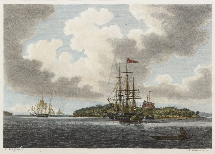 A view of Botany Bay. (The first Fleet left England bound for Botany Bay, now a suburb of Sydney. Arthur Phillip the Commander of the Fleet found Botany Bay unsuitable and Chose Sydney Cove a few kilometres north as the site for the settlement.